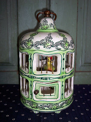 Vintage Antique French Faience Green Porcelain Ceramic Bird Cage w/Bird