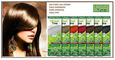 HERBAL TIME HENNA 100% NATURAL CREAM HAIR COLORANT,Ready for use,Select: