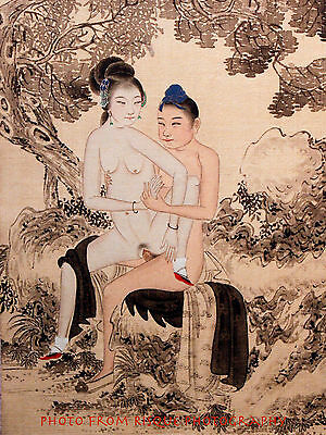 "Nude Woman on Man's Lap 8.5x11"" Photo Print Classic Chinese Erotica Naked Art"