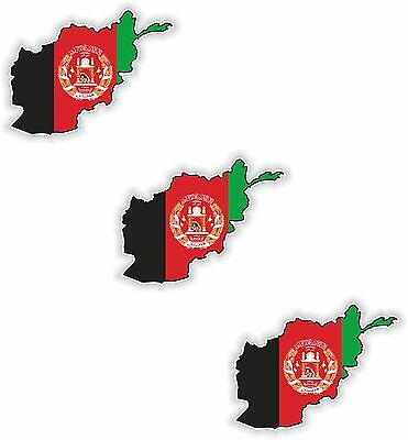3x Afghanistan Map Flag Stickers Silhouette With Flag for Helmet Hard Hat Locker