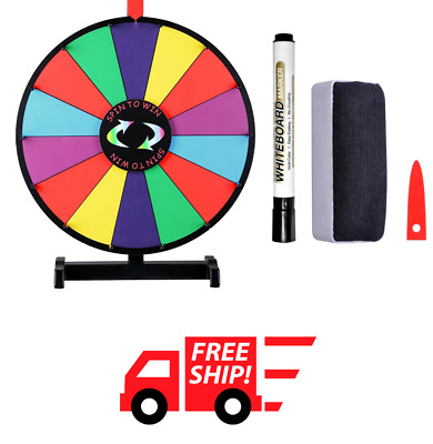 """18"""" Color Prize Wheel Fortune Stand Tradeshow Carnival Spinning Game Dry Erase"""