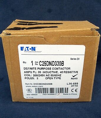 Eaton C25DND330B 30 Amp 3 Pole 208/240V Coil Volt Definite Purpose Contactor New