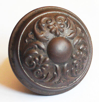 Antique Door Knob Victorian Raised Center Leaf Pattern Steel Bronze Heavy
