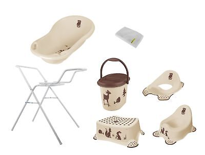 7er Set forest beige baignoire XXL + Support + Pot + WC + Tabouret + Seau + WHS