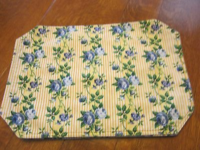 Longaberger Set of 4 Rose Trellis PLACEMATS Yellow w Blue Roses EUC