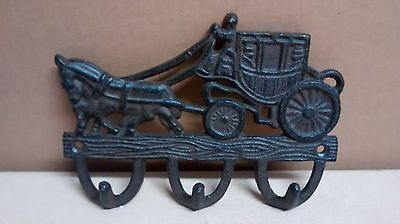 Cast Iron STAGECOACH Towel, Coat, Hat or Key Holder Western Cowboy
