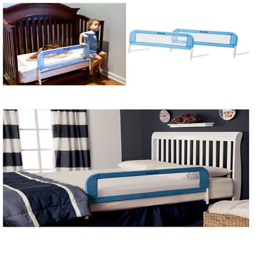 Baby Convertible Crib Rail Bed Protector Guard Safety Fastens, Blue 33.5x15 Inch