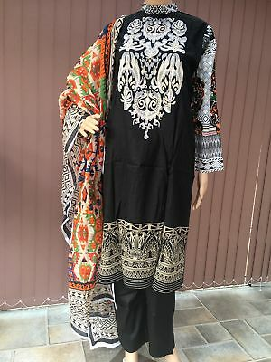 Gul Ahmed Maria B Inspired Black Lawn Suit with Beautiful Neck design