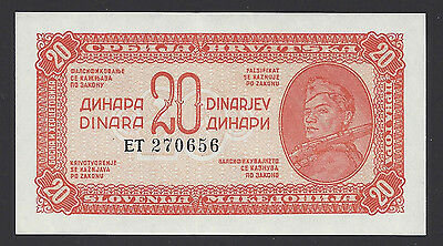 UNC 1944 Yugoslavia 20 Dinara P-51d Security Thread ET270656, #009