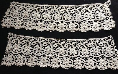 "Antique Edwardian Two Chemical Lace Cuffs Beautiful Stars Pattern AS IS,10"" x 3"""