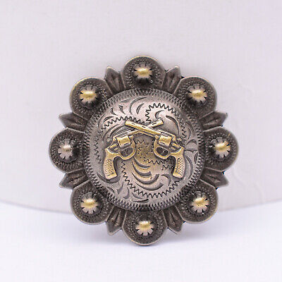 """Lot Of 6 Conchos Antique Brass Pico Berry Western Rodeo Leather Tack 1 1/2 """""""
