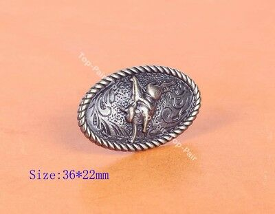 6Pc 36*22Mm Antique Brass Silver Western Cowboy Cowgirl Rodeo Calf Roper Concho