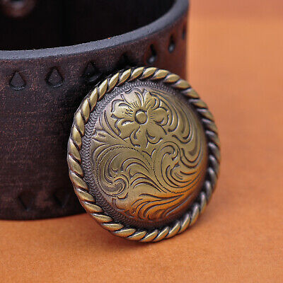 "1-1/2"" Set 6 Western Cowboy Antique Brass Engraved Floral Leathercraft Conchos"