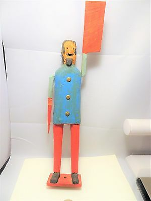 Vintage Carved Wood Folk Art Whirlygig Whirly Gig Man w/Long Arms