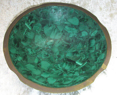 Vintage African LARGE MALACHITE Green Stone BOWL DISH Weighs 490G Estate 17CmW