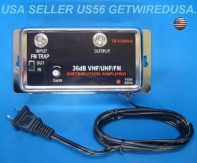 HOME FM STEREO 36DB ANTENNA INLINE BOOSTER F-Type COAX CABLE SIGNAL AMPLIFIER