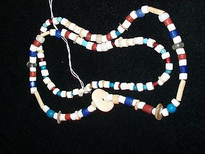 Nice Strand~ Early Trade & Bone Beads~ W/ Human Face Effigy Carved Pendant~ A438