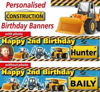 Personalized Birthday Banners - Construction Trucks