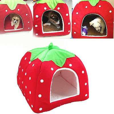 Strawberry Pet Dog Cat Bed House Kennel Doggy Warm Cushion Basket Pad New
