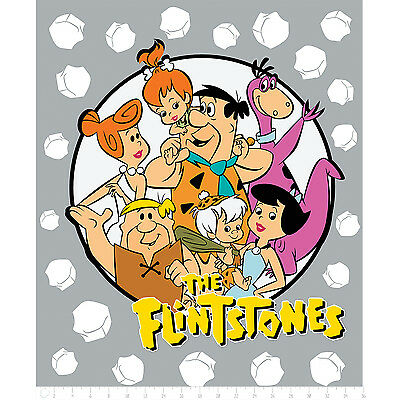 The Flintstones Prehistoric Stone Age Family 100% Cotton Fabric by the panel
