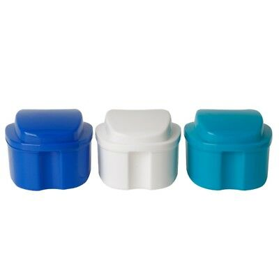 Denture Box case Dental False Tooth Storage Bath Case with Hanging Net Container