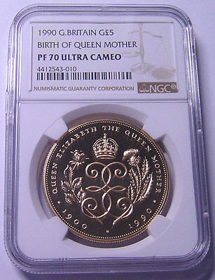 Great Britain £5 Gold 1990 NGC PF70UC  Mtg:2,500 pieces  Rare in 70 grade