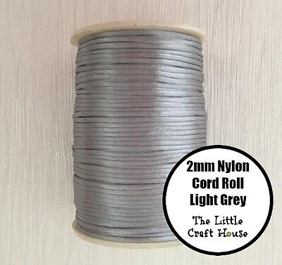 80 Yards (73m) Roll Light Grey Silver Nylon Cord 2mm Silicone Bead Necklace DIY