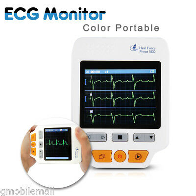 Portable Heal Force 180D Color ECG Monitor ECG lead cables + 50pc ECG electrodes
