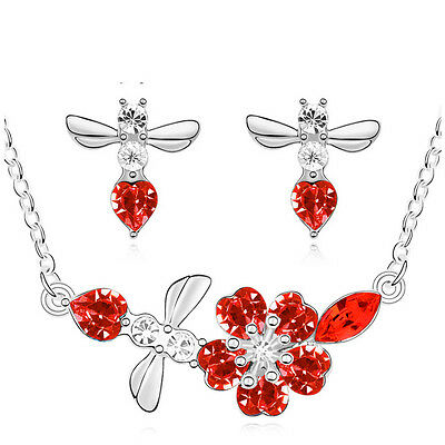 Silver & Red Crystal Jewellery Angel Set Drop Earrings Necklace Pendant S642