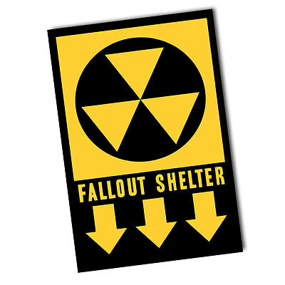 1950's Fallout Shelter War Sign Design  Reproduction 8x12 Inch Aluminum Sign