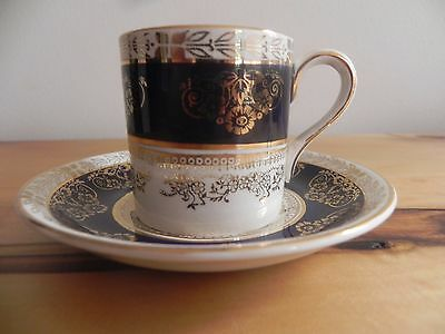 Vintage Crown Ducal Cobalt Blue and Gold Demitasse Cup and Saucer