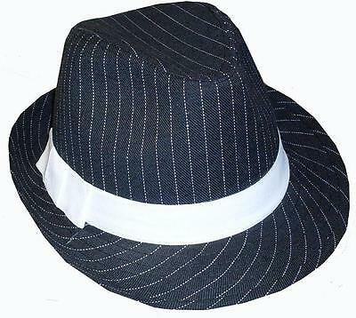 21c5b89b506bb 1920s Mens Deluxe Gangster Trilby Hat 20s Fancy Dress Black White New
