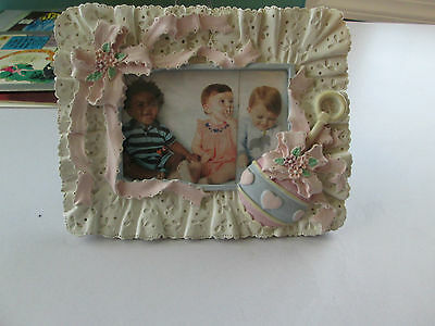 Baby Girl Ceramic Frame  Pink Ribbons Rattle Lace Border EUC