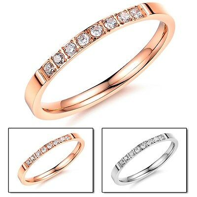 18K Rose Gold/Silver CZ Band Women Titanium Steel Wedding Couple Rings Size 4-10