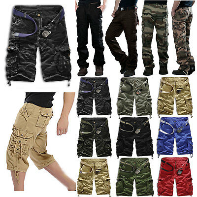 Mens Casual Army Combat Camo Work Cargo Shorts Pants Long Trousers Cotton Bottom