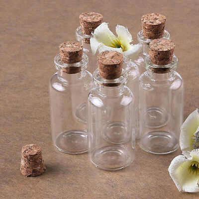 50pcs Mini Small Glass Bottles Jars with Cork Wish Note Craft Bottle (Clear)