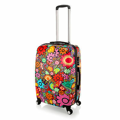 """20"""" Dazzle Colour Flower Luggage 4 Wheel Spinner Trolley PC Hard Shell Suitcase"""