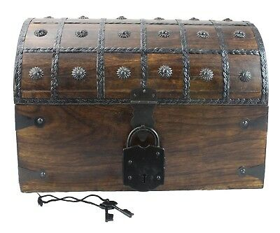 Wooden Pirate Treasure Chest Box With Antique Style Lock Skeleton Key Large