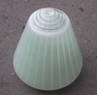 Vintage Green Frosted Glass Light Shade Art Deco Beehive Style
