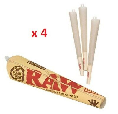 Raw Organic Hemp Natural Unrefine King Size Pre Rolled Paper 3 pack cone bulk x4