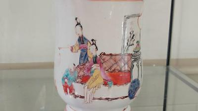 Large Qianlong 18th C Famille Rose Chinese Tankard with Family Scene 1780+