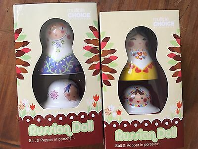 Porcelain Russian Doll Salt & Pepper Set Shaker New