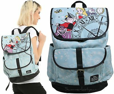 Loungefly Disney Alice In Wonderland Clock Slouch Backpack School Book Bag New