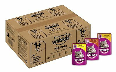 84 x Whiskas Wet Cat Food Pouches for 1+ Adult Mixed Selection in Gravy Free P&P
