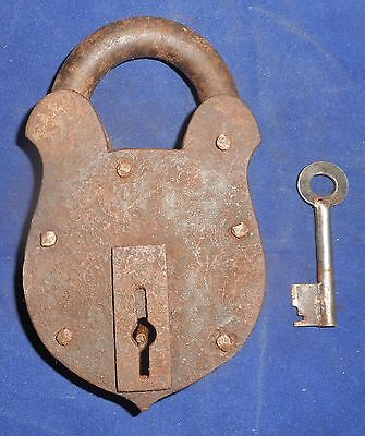 India Antique  Iron handmade Padlock with handmade Key working condition