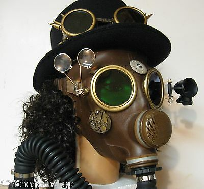 Steampunk Style Gas Mask M51 altered 1950s Green/Red lenses 3D Type By Artist #1