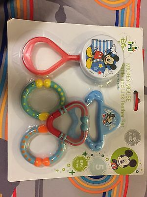 NIP Disney Baby Mickey Rattle and link teether set