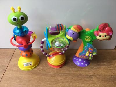 Highchair Suction Cup  Toys x 3 Sassy, Fisher Price  and Lamaze