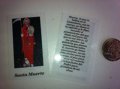 Small Holy Prayer Cards For Santa Muerte Holy Death In Red In Spanish Set Of 2