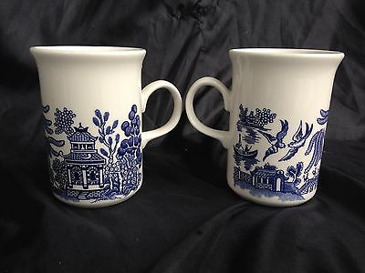 Beautiful Pair Blue Willow Coffee Cups / Mugs Johnson Brothers England 4 1/4""